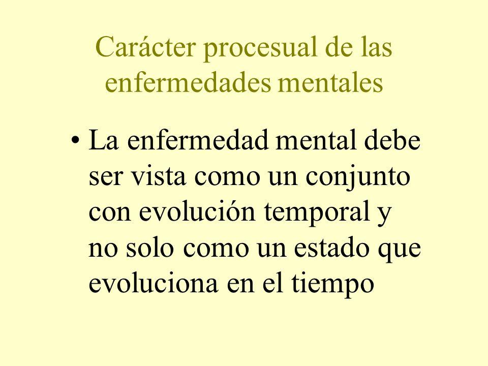 Carácter procesual de las enfermedades mentales La enfermedad mental debe ser vista como un conjunto con evolución temporal y no solo como un estado que evoluciona en el tiempo