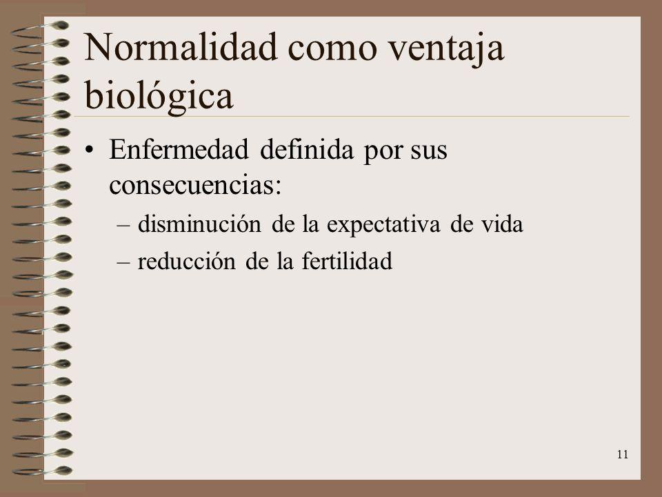 11 Normalidad como ventaja biológica Enfermedad definida por sus consecuencias: –disminución de la expectativa de vida –reducción de la fertilidad