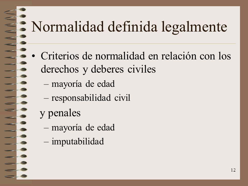 12 Normalidad definida legalmente Criterios de normalidad en relación con los derechos y deberes civiles –mayoría de edad –responsabilidad civil y pen