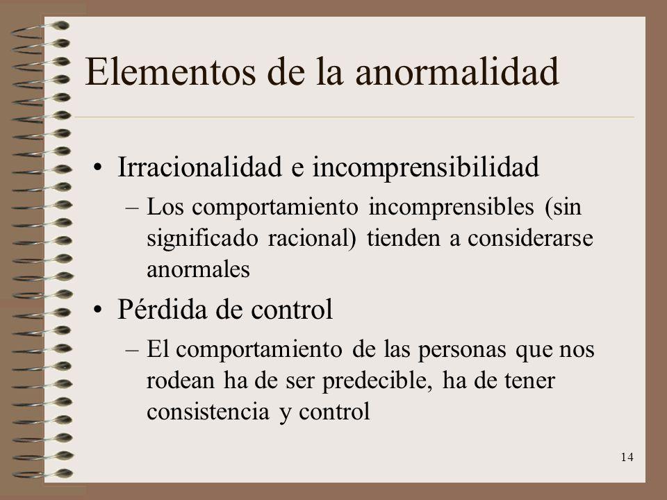 14 Elementos de la anormalidad Irracionalidad e incomprensibilidad –Los comportamiento incomprensibles (sin significado racional) tienden a considerar