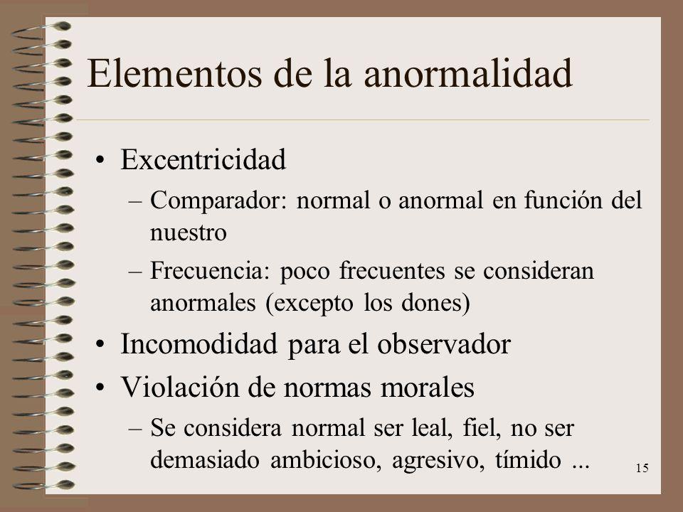 15 Elementos de la anormalidad Excentricidad –Comparador: normal o anormal en función del nuestro –Frecuencia: poco frecuentes se consideran anormales