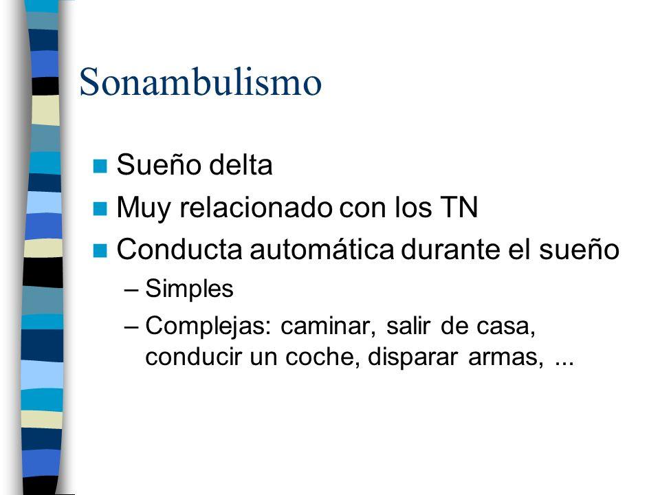 Sonambulismo Sueño delta Muy relacionado con los TN Conducta automática durante el sueño –Simples –Complejas: caminar, salir de casa, conducir un coch