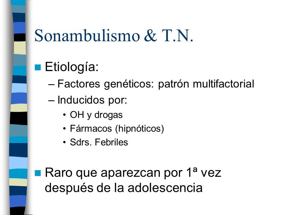 Sonambulismo & T.N. Etiología: –Factores genéticos: patrón multifactorial –Inducidos por: OH y drogas Fármacos (hipnóticos) Sdrs. Febriles Raro que ap