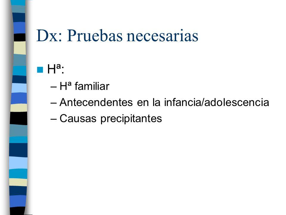 Dx: Pruebas necesarias Hª: –Hª familiar –Antecendentes en la infancia/adolescencia –Causas precipitantes