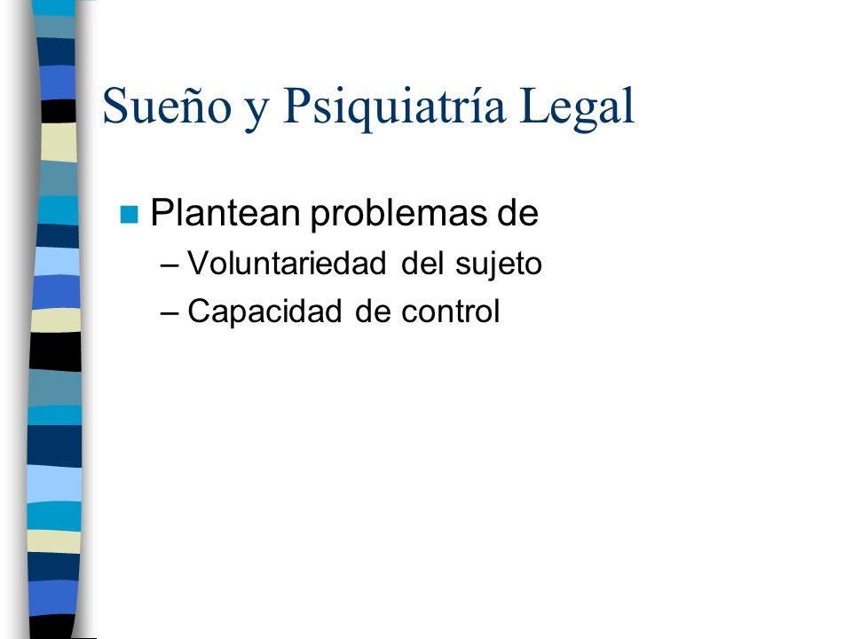 Sueño y Psiquiatría Legal Plantean problemas de –Voluntariedad del sujeto –Capacidad de control