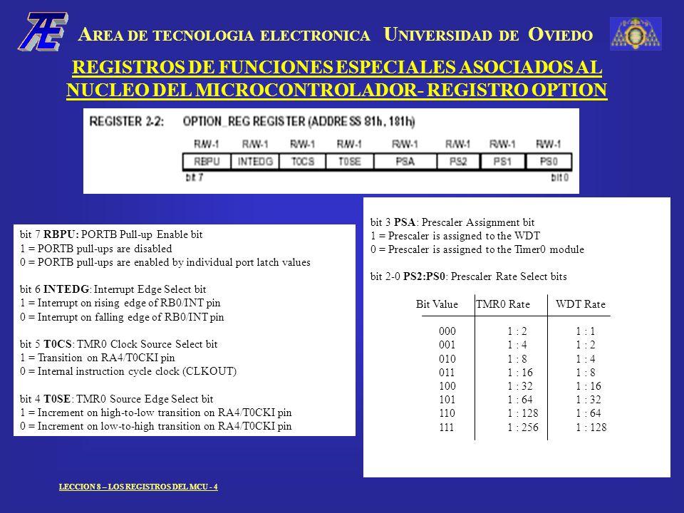 A REA DE TECNOLOGIA ELECTRONICA U NIVERSIDAD DE O VIEDO LECCION 8 – LOS REGISTROS DEL MCU - 4 bit 3 PSA: Prescaler Assignment bit 1 = Prescaler is assigned to the WDT 0 = Prescaler is assigned to the Timer0 module bit 2-0 PS2:PS0: Prescaler Rate Select bits Bit Value TMR0 Rate WDT Rate 0001 : 21 : 1 0011 : 41 : 2 0101 : 81 : 4 0111 : 161 : 8 1001 : 321 : 16 1011 : 641 : 32 1101 : 1281 : 64 1111 : 2561 : 128 REGISTROS DE FUNCIONES ESPECIALES ASOCIADOS AL NUCLEO DEL MICROCONTROLADOR- REGISTRO OPTION bit 7 RBPU: PORTB Pull-up Enable bit 1 = PORTB pull-ups are disabled 0 = PORTB pull-ups are enabled by individual port latch values bit 6 INTEDG: Interrupt Edge Select bit 1 = Interrupt on rising edge of RB0/INT pin 0 = Interrupt on falling edge of RB0/INT pin bit 5 T0CS: TMR0 Clock Source Select bit 1 = Transition on RA4/T0CKI pin 0 = Internal instruction cycle clock (CLKOUT) bit 4 T0SE: TMR0 Source Edge Select bit 1 = Increment on high-to-low transition on RA4/T0CKI pin 0 = Increment on low-to-high transition on RA4/T0CKI pin