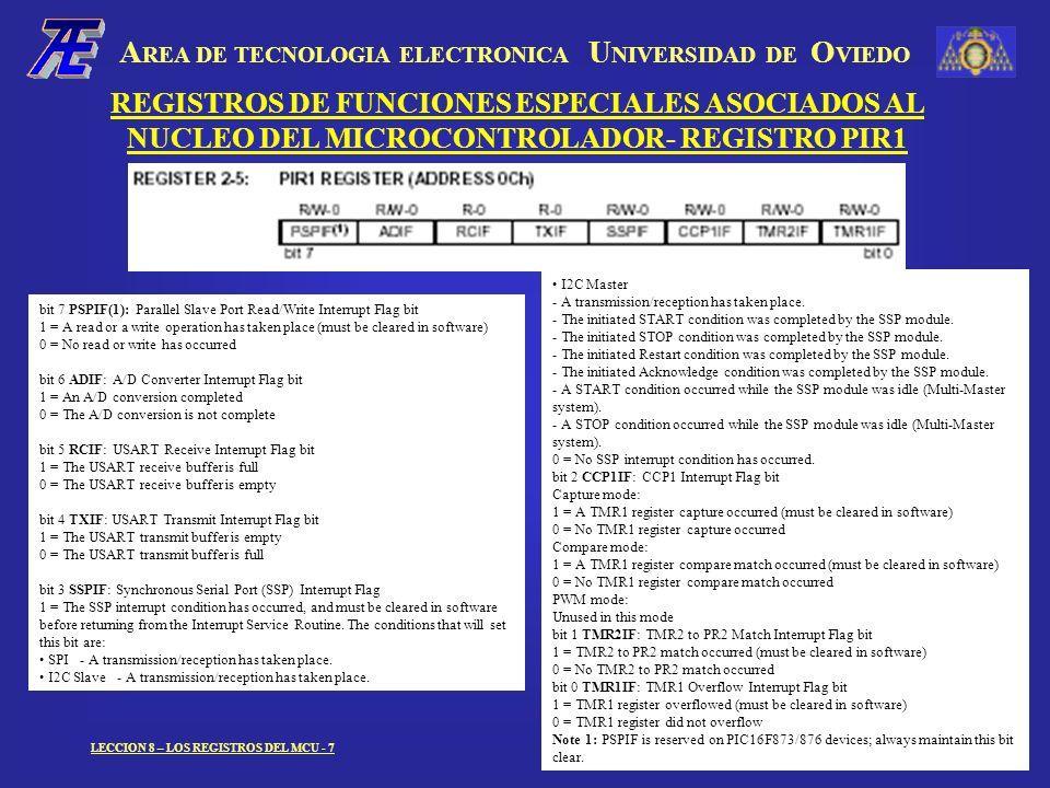A REA DE TECNOLOGIA ELECTRONICA U NIVERSIDAD DE O VIEDO LECCION 8 – LOS REGISTROS DEL MCU - 7 REGISTROS DE FUNCIONES ESPECIALES ASOCIADOS AL NUCLEO DE