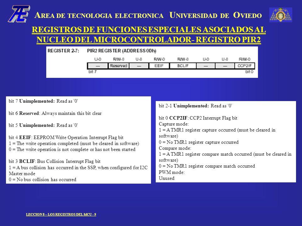 A REA DE TECNOLOGIA ELECTRONICA U NIVERSIDAD DE O VIEDO LECCION 8 – LOS REGISTROS DEL MCU - 9 REGISTROS DE FUNCIONES ESPECIALES ASOCIADOS AL NUCLEO DEL MICROCONTROLADOR- REGISTRO PIR2 bit 7 Unimplemented: Read as 0 bit 6 Reserved: Always maintain this bit clear bit 5 Unimplemented: Read as 0 bit 4 EEIF: EEPROM Write Operation Interrupt Flag bit 1 = The write operation completed (must be cleared in software) 0 = The write operation is not complete or has not been started bit 3 BCLIF: Bus Collision Interrupt Flag bit 1 = A bus collision has occurred in the SSP, when configured for I2C Master mode 0 = No bus collision has occurred bit 2-1 Unimplemented: Read as 0 bit 0 CCP2IF: CCP2 Interrupt Flag bit Capture mode: 1 = A TMR1 register capture occurred (must be cleared in software) 0 = No TMR1 register capture occurred Compare mode: 1 = A TMR1 register compare match occurred (must be cleared in software) 0 = No TMR1 register compare match occurred PWM mode: Unused