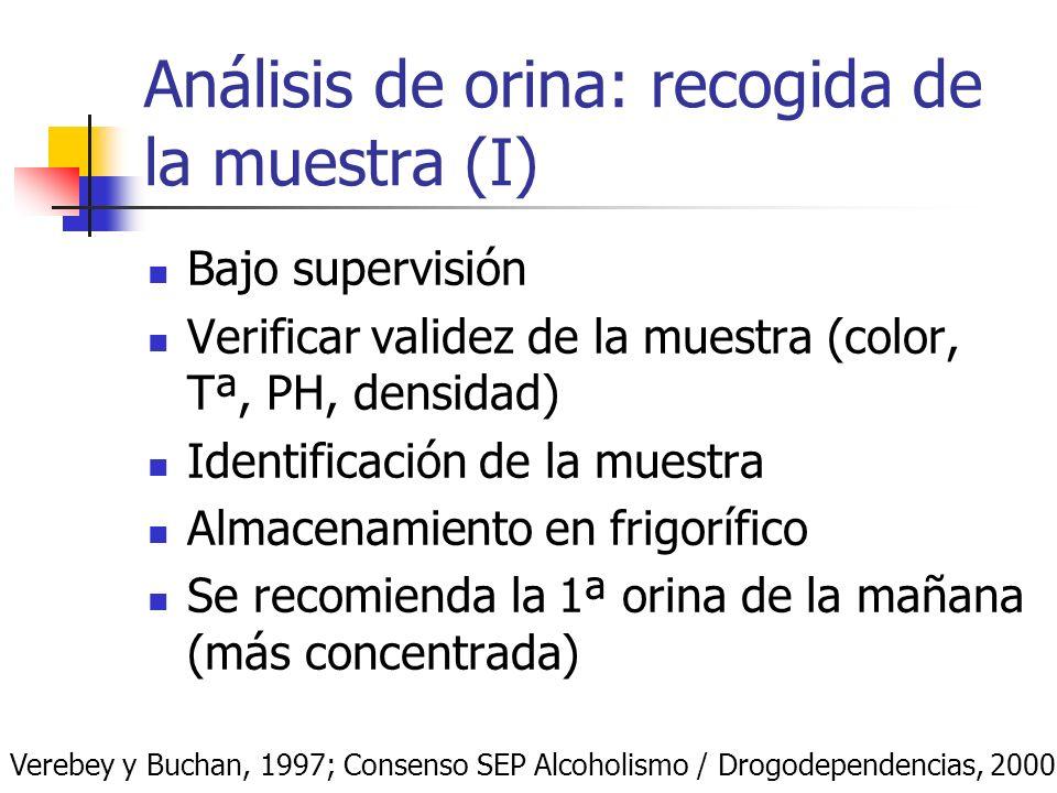 Análisis de orina: recogida de la muestra (I) Bajo supervisión Verificar validez de la muestra (color, Tª, PH, densidad) Identificación de la muestra