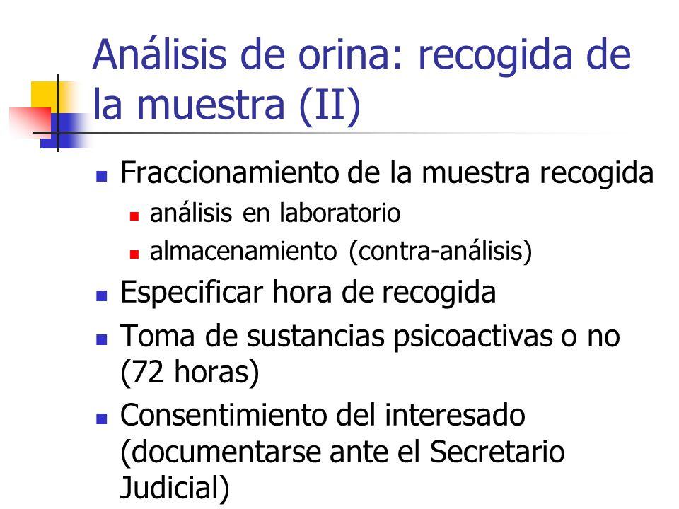 Análisis de orina: recogida de la muestra (II) Fraccionamiento de la muestra recogida análisis en laboratorio almacenamiento (contra-análisis) Especif