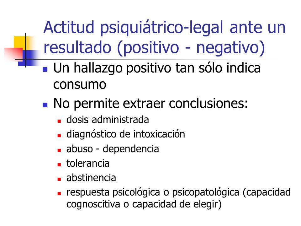 Actitud psiquiátrico-legal ante un resultado (positivo - negativo) Un hallazgo positivo tan sólo indica consumo No permite extraer conclusiones: dosis