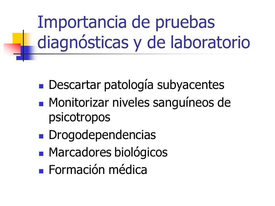 Importancia de pruebas diagnósticas y de laboratorio Descartar patología subyacentes Monitorizar niveles sanguíneos de psicotropos Drogodependencias M