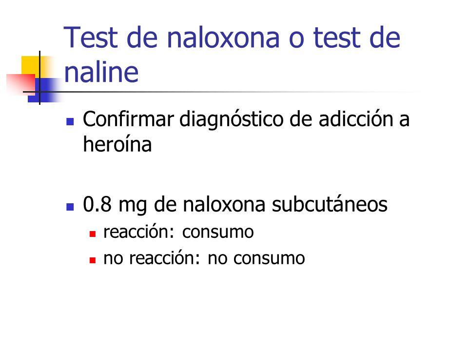 Test de naloxona o test de naline Confirmar diagnóstico de adicción a heroína 0.8 mg de naloxona subcutáneos reacción: consumo no reacción: no consumo