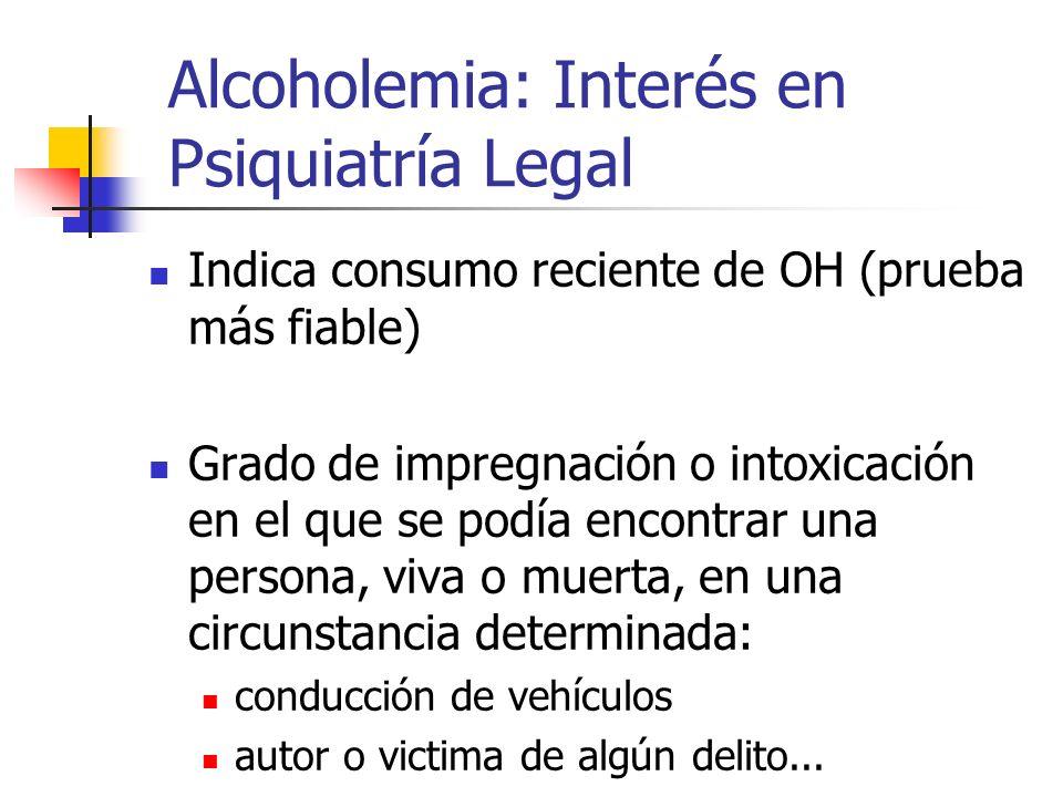 Alcoholemia: Interés en Psiquiatría Legal Indica consumo reciente de OH (prueba más fiable) Grado de impregnación o intoxicación en el que se podía en