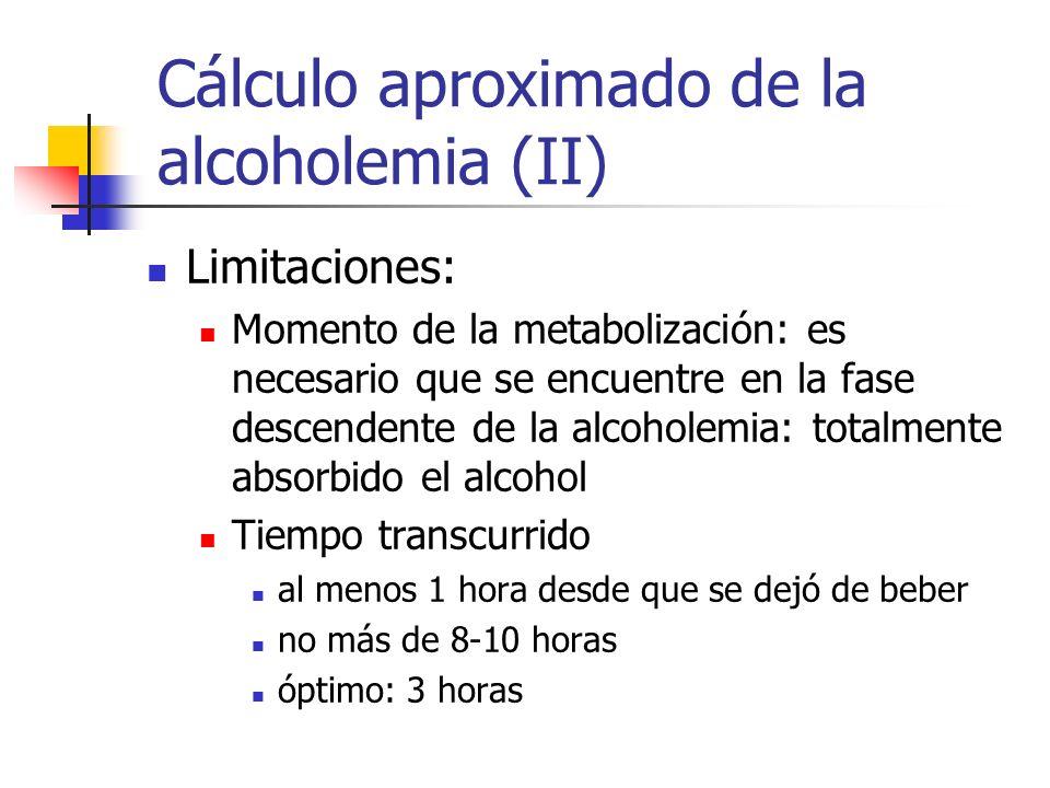 Cálculo aproximado de la alcoholemia (II) Limitaciones: Momento de la metabolización: es necesario que se encuentre en la fase descendente de la alcoh