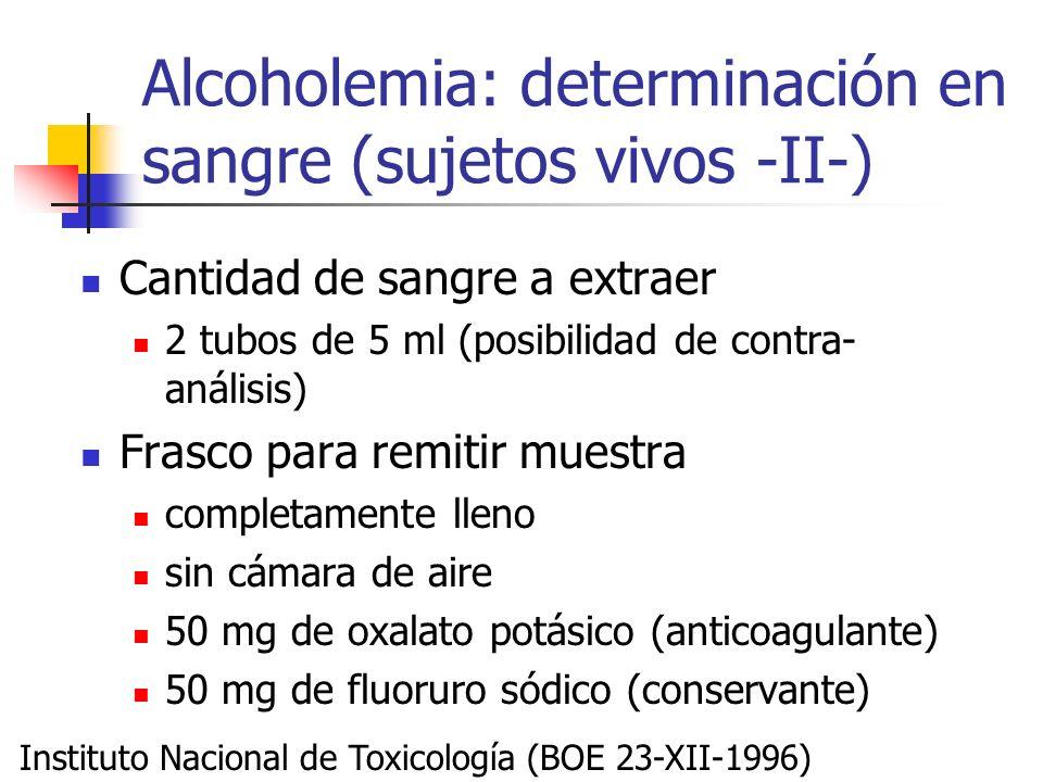 Alcoholemia: determinación en sangre (sujetos vivos -II-) Cantidad de sangre a extraer 2 tubos de 5 ml (posibilidad de contra- análisis) Frasco para r