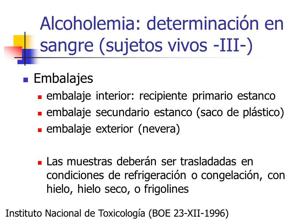 Alcoholemia: determinación en sangre (sujetos vivos -III-) Embalajes embalaje interior: recipiente primario estanco embalaje secundario estanco (saco
