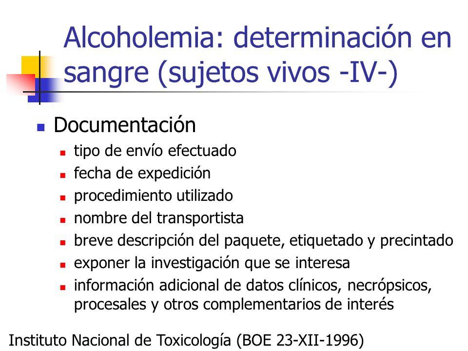 Alcoholemia: determinación en sangre (sujetos vivos -IV-) Documentación tipo de envío efectuado fecha de expedición procedimiento utilizado nombre del