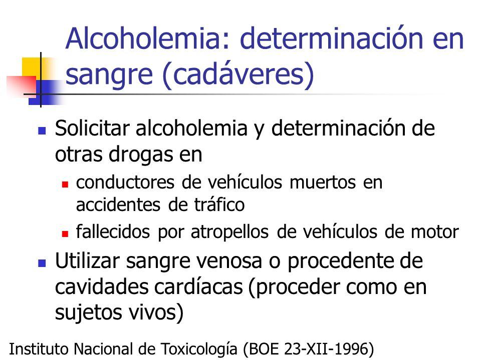 Alcoholemia: determinación en sangre (cadáveres) Solicitar alcoholemia y determinación de otras drogas en conductores de vehículos muertos en accident