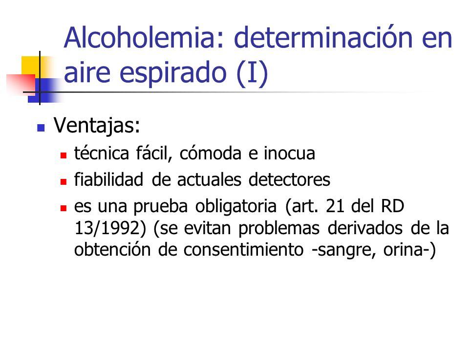 Alcoholemia: determinación en aire espirado (I) Ventajas: técnica fácil, cómoda e inocua fiabilidad de actuales detectores es una prueba obligatoria (