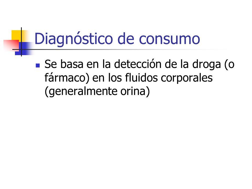 Diagnóstico de consumo Se basa en la detección de la droga (o fármaco) en los fluidos corporales (generalmente orina)