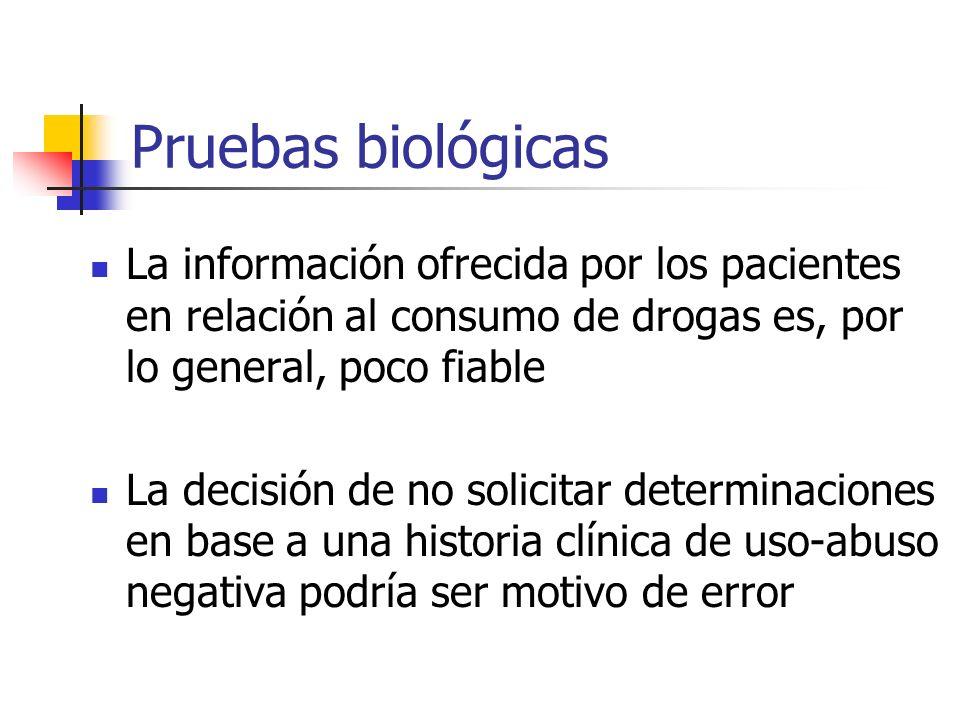 Análisis de orina La sensibilidad de los métodos de laboratorio usados para detección de drogas / fármacos en sangre es inferior a la registrada en orina El nivel de drogas en orina es, usualmente, más elevado que en sangre Rosse et al, 1992; Verebey y Buchan, 1997