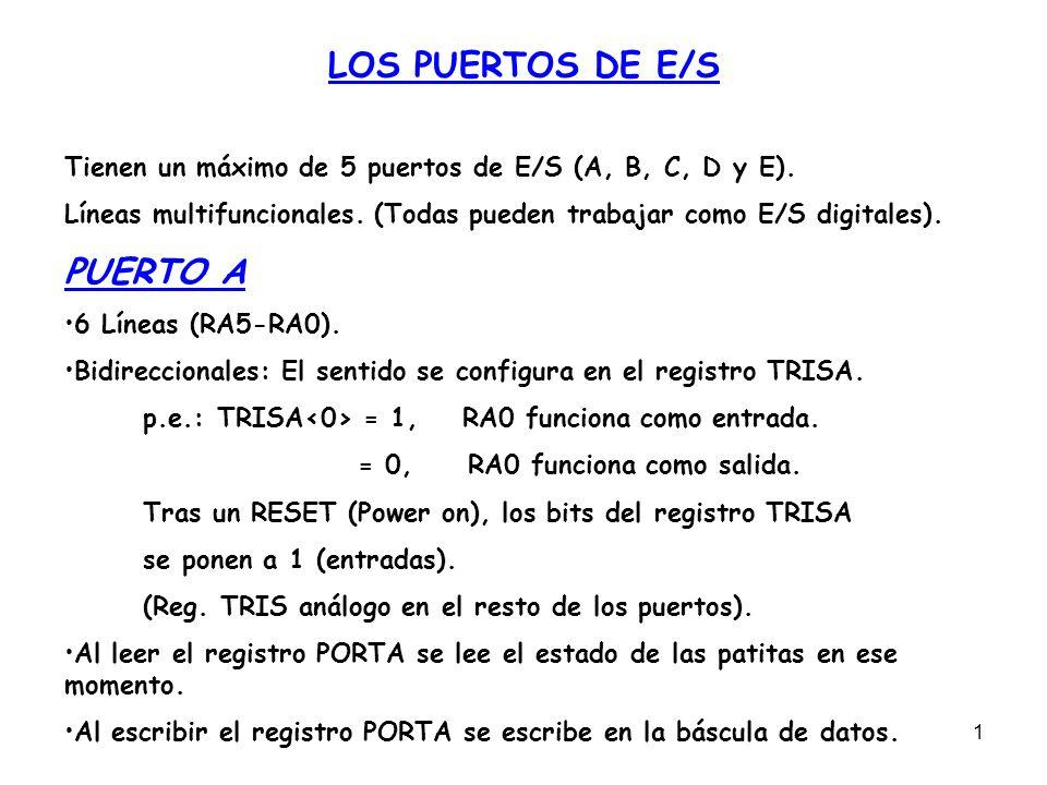 2 PATITAS DEL PUERTO A Para seleccionar si RA van a ser E/S digitales o entradas analógicas del conversor A/D, se escribe el valor adecuado en el registro ADCON1.