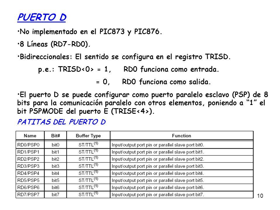 10 PUERTO D No implementado en el PIC873 y PIC876. 8 Líneas (RD7-RD0). Bidireccionales: El sentido se configura en el registro TRISD. p.e.: TRISD = 1,