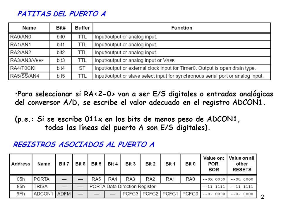 2 PATITAS DEL PUERTO A Para seleccionar si RA van a ser E/S digitales o entradas analógicas del conversor A/D, se escribe el valor adecuado en el regi