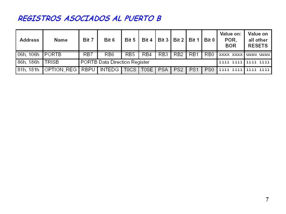 8 PUERTO C 8 Líneas (RC7-RC0).Bidireccionales: El sentido se configura en el registro TRISC.