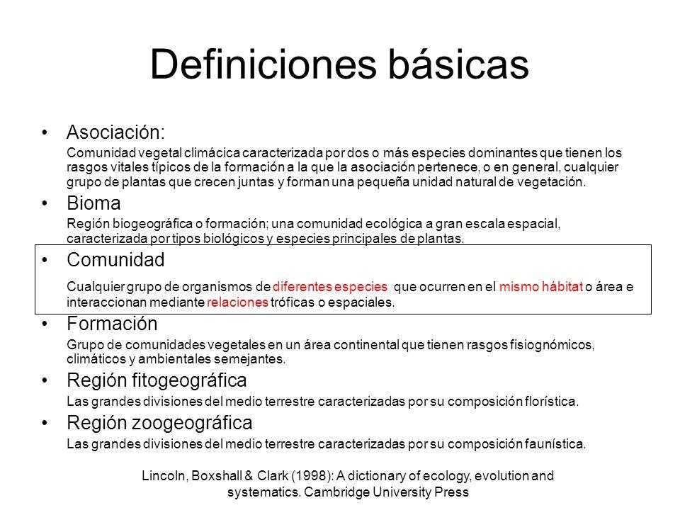 Lincoln, Boxshall & Clark (1998): A dictionary of ecology, evolution and systematics. Cambridge University Press Definiciones básicas Asociación: Comu