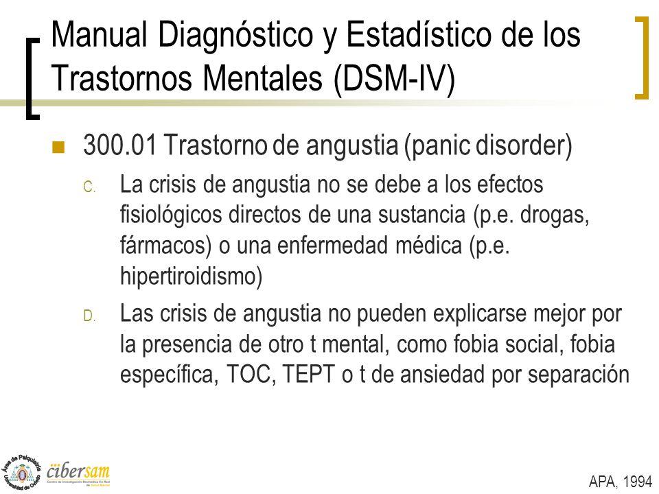 Manual Diagnóstico y Estadístico de los Trastornos Mentales (DSM-IV) 300.01 Trastorno de angustia (panic disorder) C. La crisis de angustia no se debe