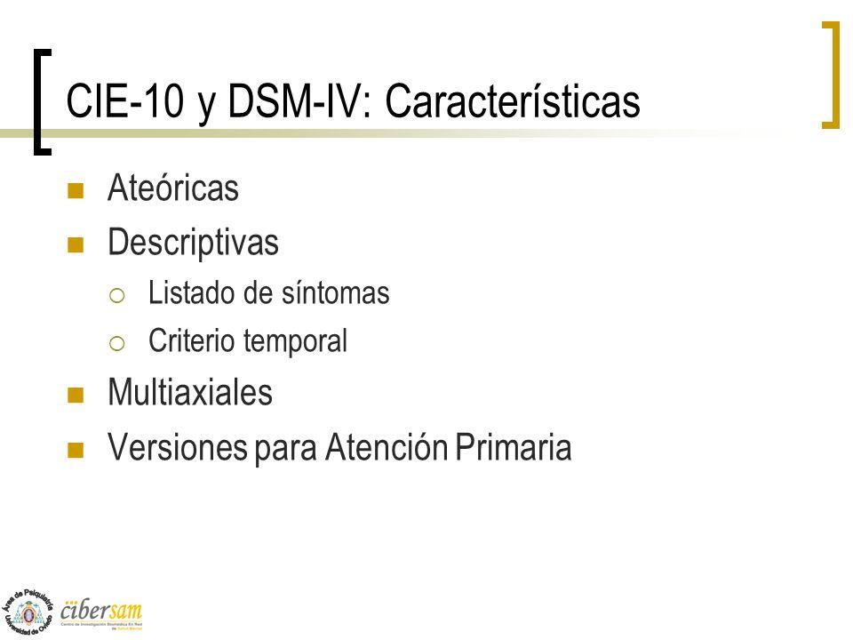 CIE-10 y DSM-IV: Características Ateóricas Descriptivas Listado de síntomas Criterio temporal Multiaxiales Versiones para Atención Primaria
