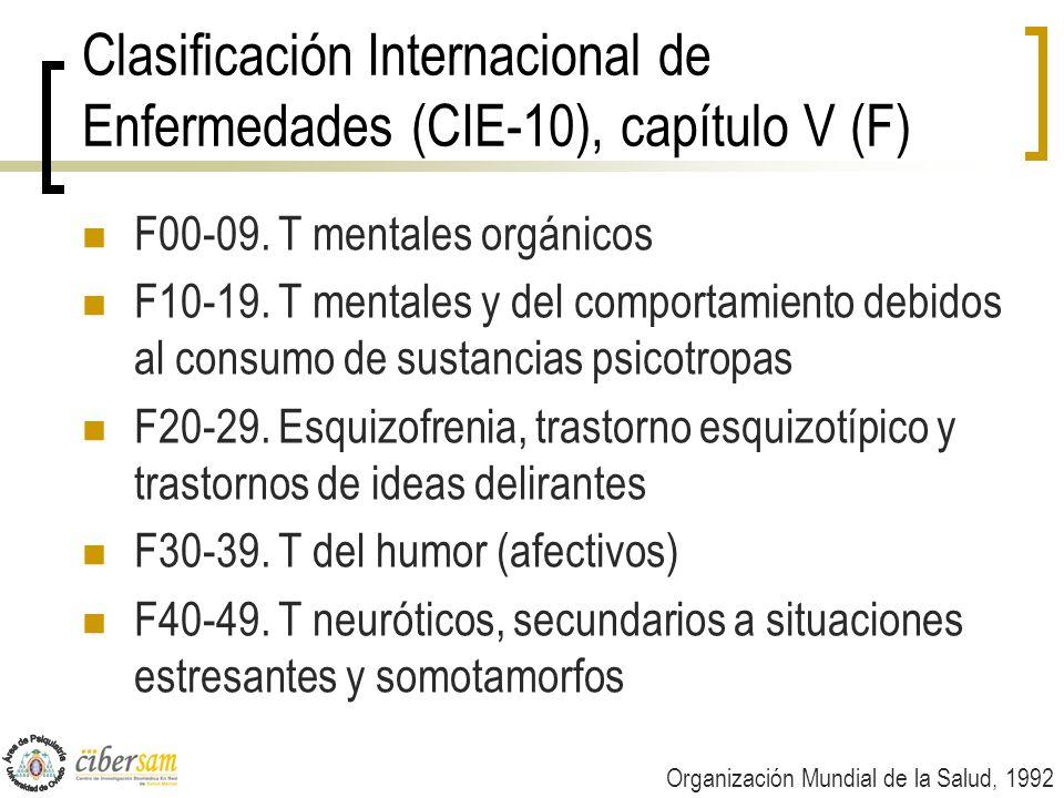 Clasificación Internacional de Enfermedades (CIE-10), capítulo V (F) F00-09. T mentales orgánicos F10-19. T mentales y del comportamiento debidos al c