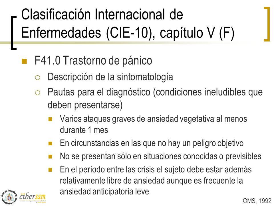 Clasificación Internacional de Enfermedades (CIE-10), capítulo V (F) F41.0 Trastorno de pánico Descripción de la sintomatología Pautas para el diagnós