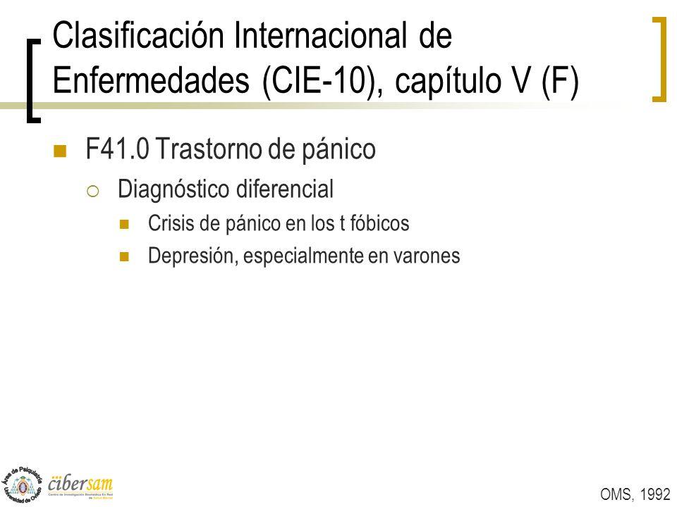 Clasificación Internacional de Enfermedades (CIE-10), capítulo V (F) F41.0 Trastorno de pánico Diagnóstico diferencial Crisis de pánico en los t fóbic