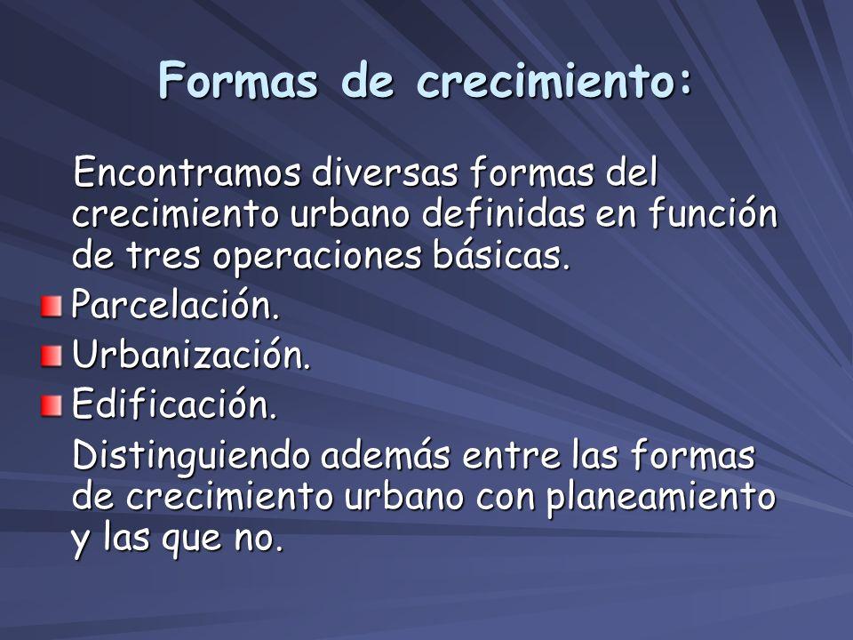 Formas de crecimiento: Encontramos diversas formas del crecimiento urbano definidas en función de tres operaciones básicas. Encontramos diversas forma