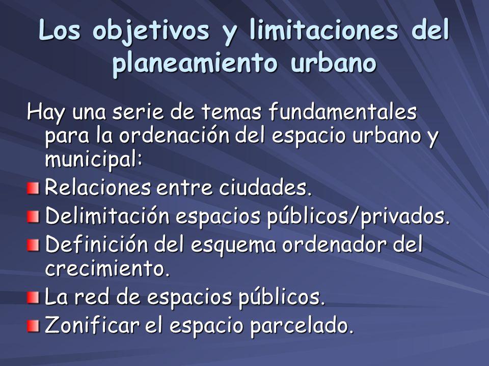 Los objetivos y limitaciones del planeamiento urbano Hay una serie de temas fundamentales para la ordenación del espacio urbano y municipal: Relacione