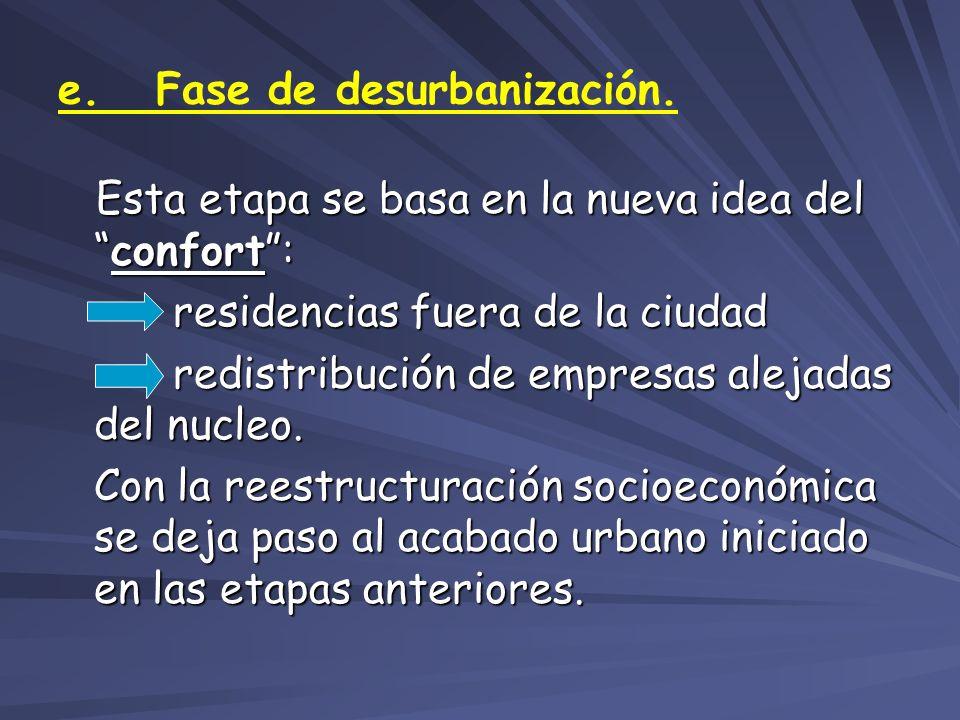 e. Fase de desurbanización. Esta etapa se basa en la nueva idea delconfort: Esta etapa se basa en la nueva idea delconfort: residencias fuera de la ci