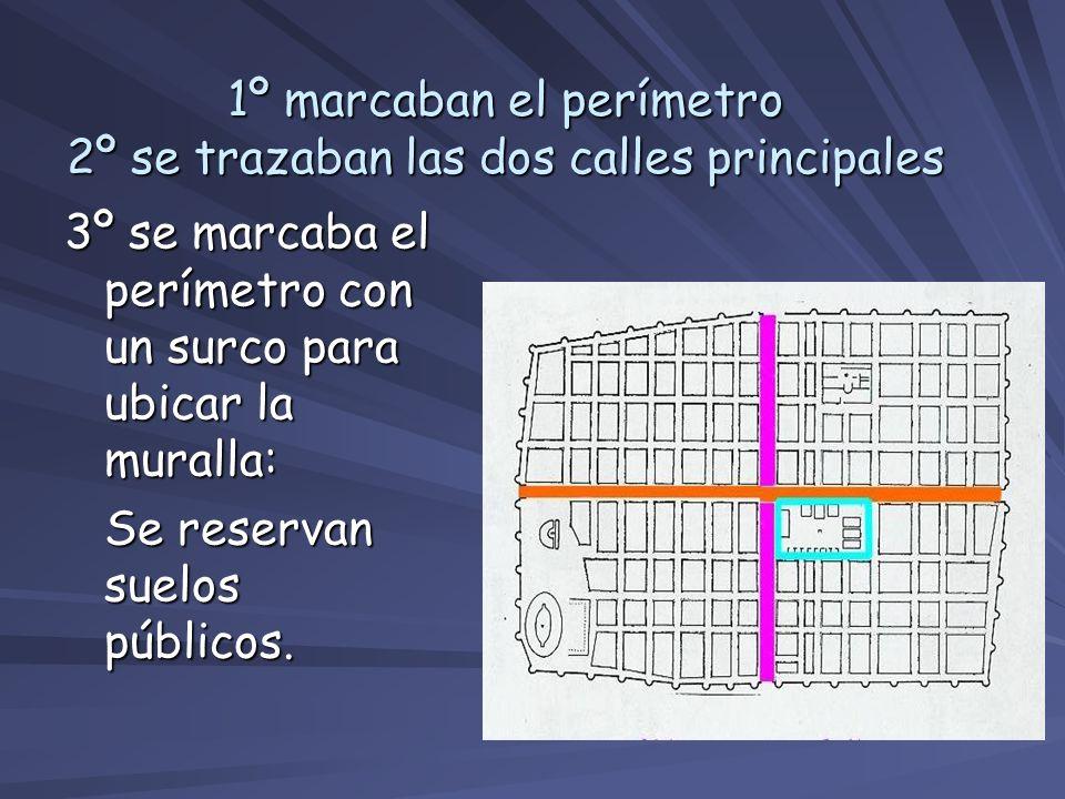 1º marcaban el perímetro 2º se trazaban las dos calles principales 3º se marcaba el perímetro con un surco para ubicar la muralla: Se reservan suelos
