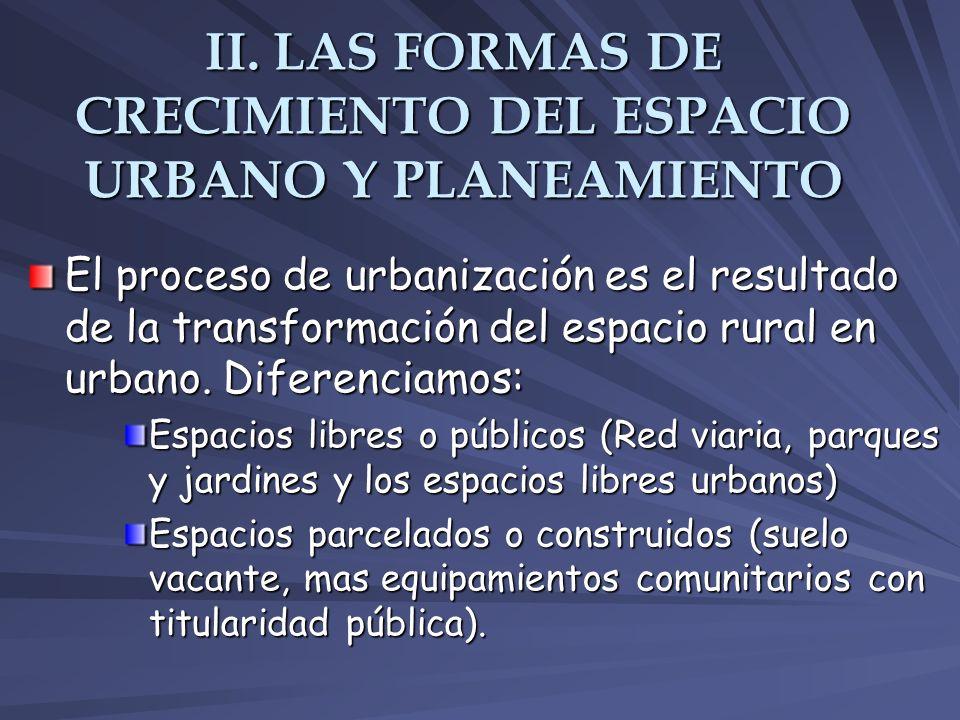 II. LAS FORMAS DE CRECIMIENTO DEL ESPACIO URBANO Y PLANEAMIENTO El proceso de urbanización es el resultado de la transformación del espacio rural en u