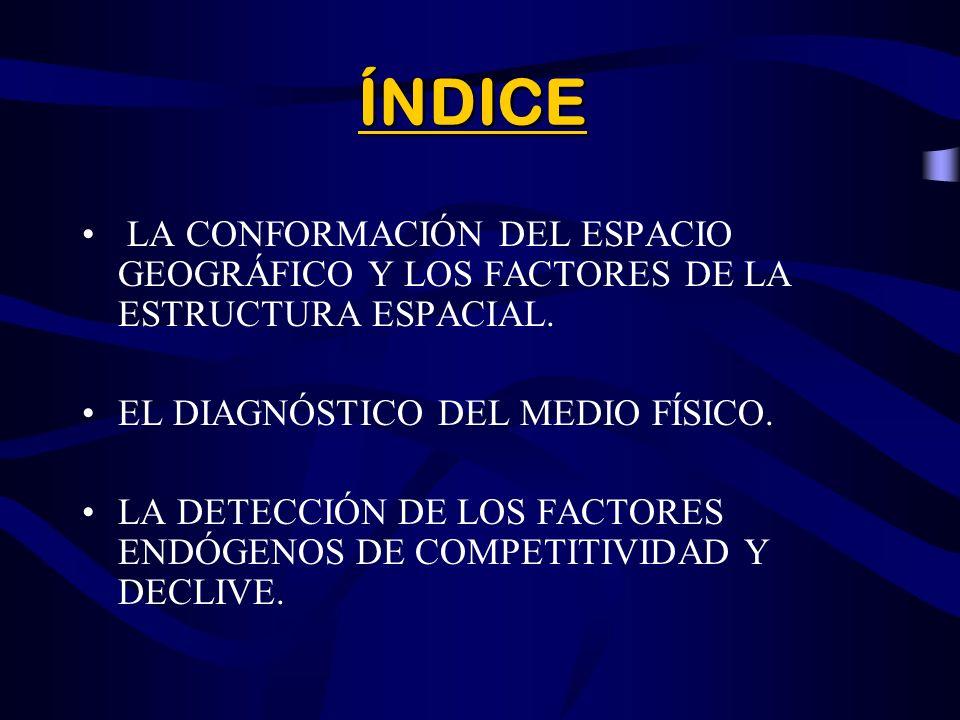 ÍNDICE LA CONFORMACIÓN DEL ESPACIO GEOGRÁFICO Y LOS FACTORES DE LA ESTRUCTURA ESPACIAL.