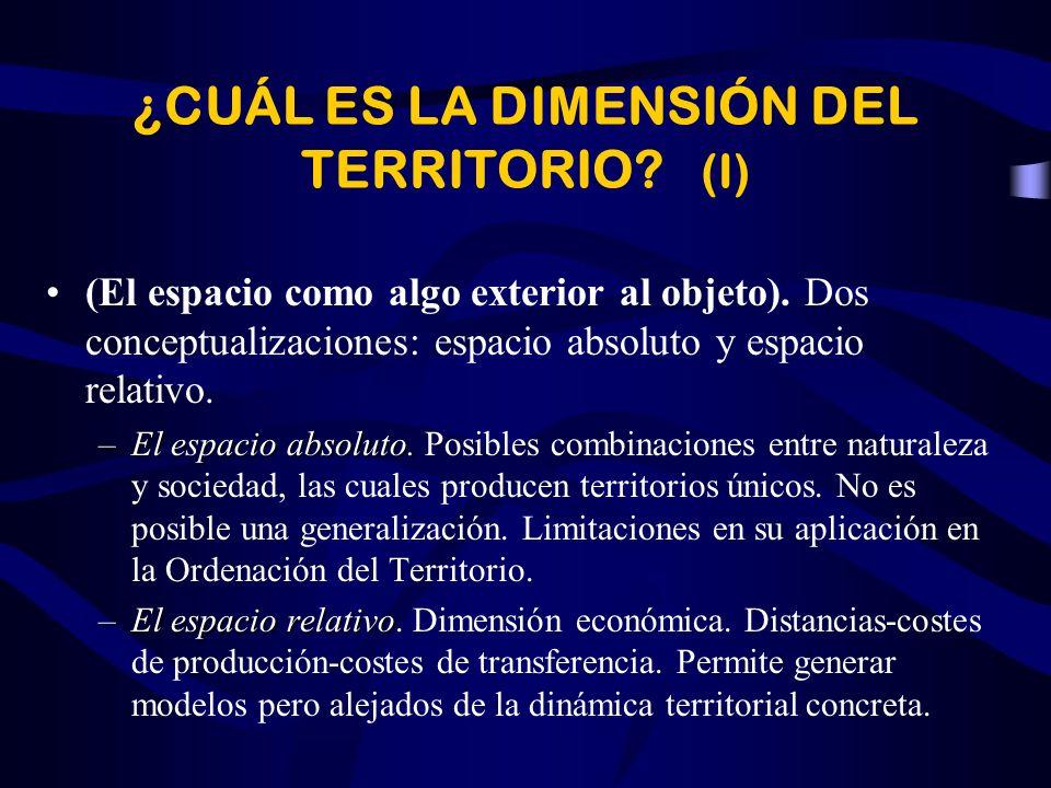 ¿CUÁL ES LA DIMENSIÓN DEL TERRITORIO.(I) (El espacio como algo exterior al objeto).