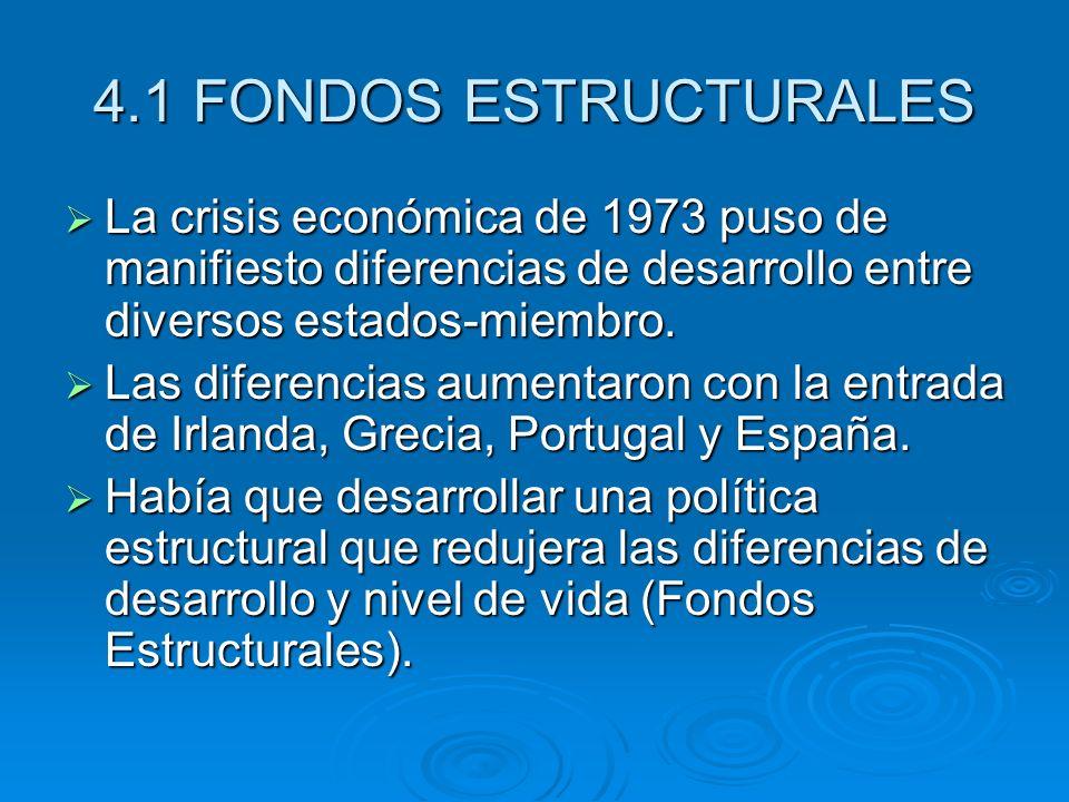 4.1 FONDOS ESTRUCTURALES La crisis económica de 1973 puso de manifiesto diferencias de desarrollo entre diversos estados-miembro. La crisis económica