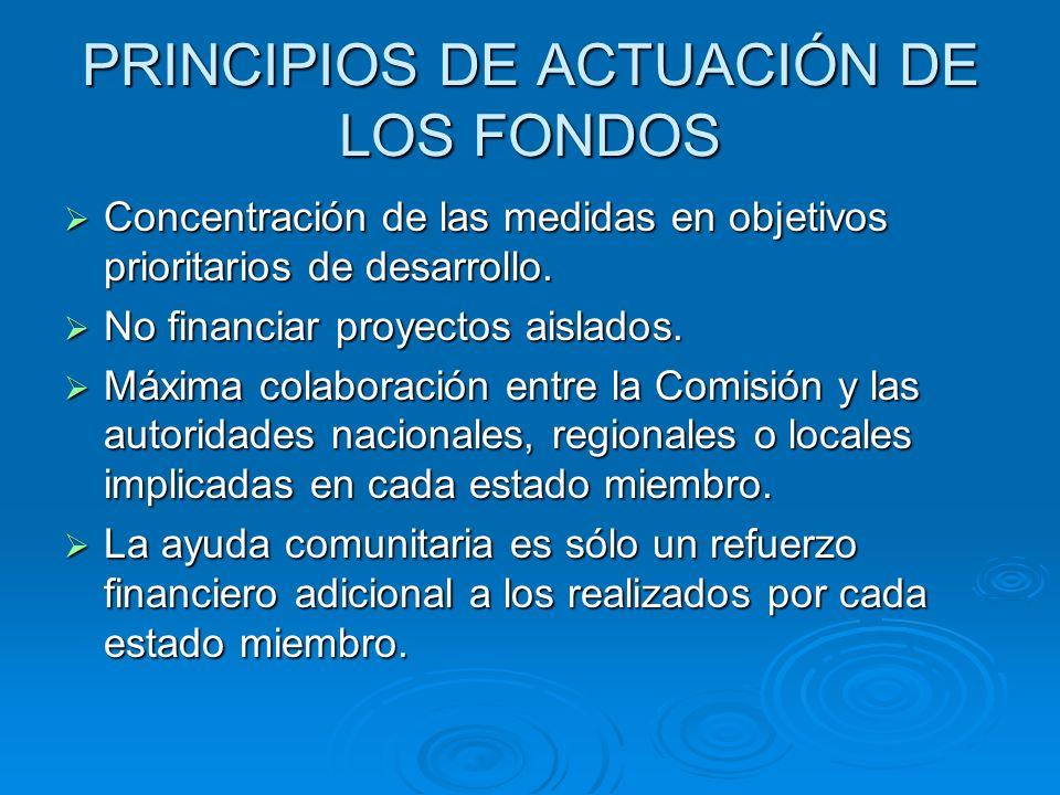 PRINCIPIOS DE ACTUACIÓN DE LOS FONDOS Concentración de las medidas en objetivos prioritarios de desarrollo. Concentración de las medidas en objetivos