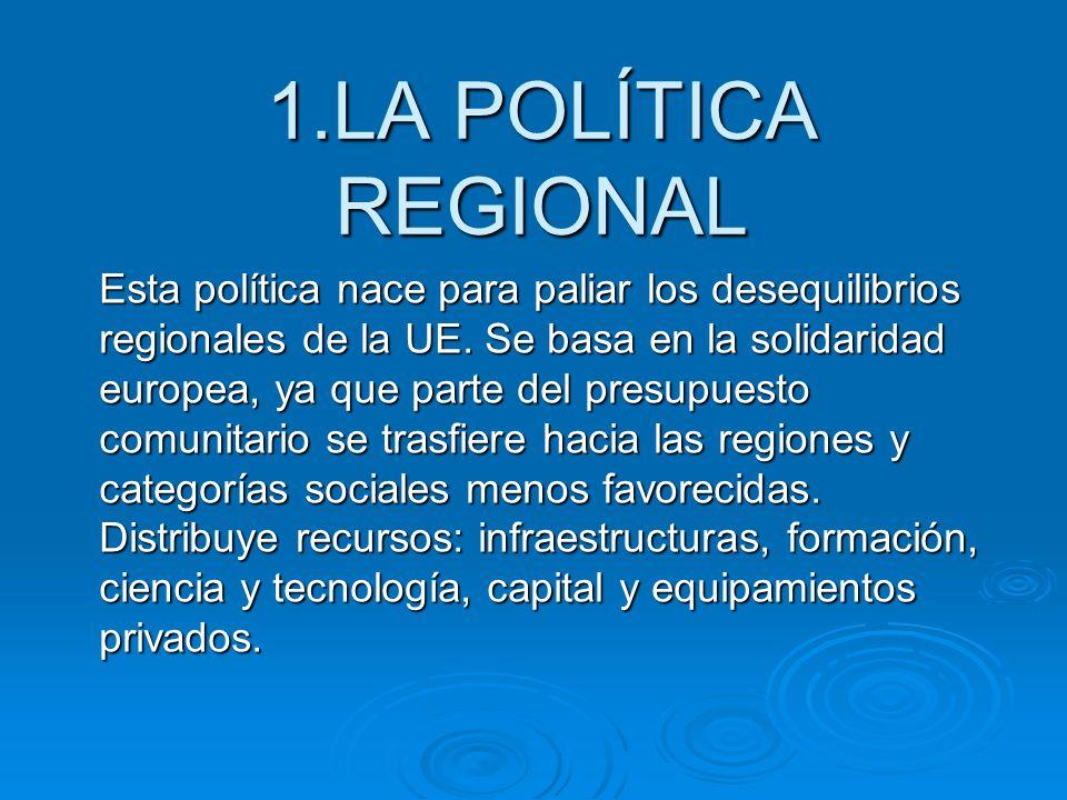 1.LA POLÍTICA REGIONAL Esta política nace para paliar los desequilibrios regionales de la UE. Se basa en la solidaridad europea, ya que parte del pres