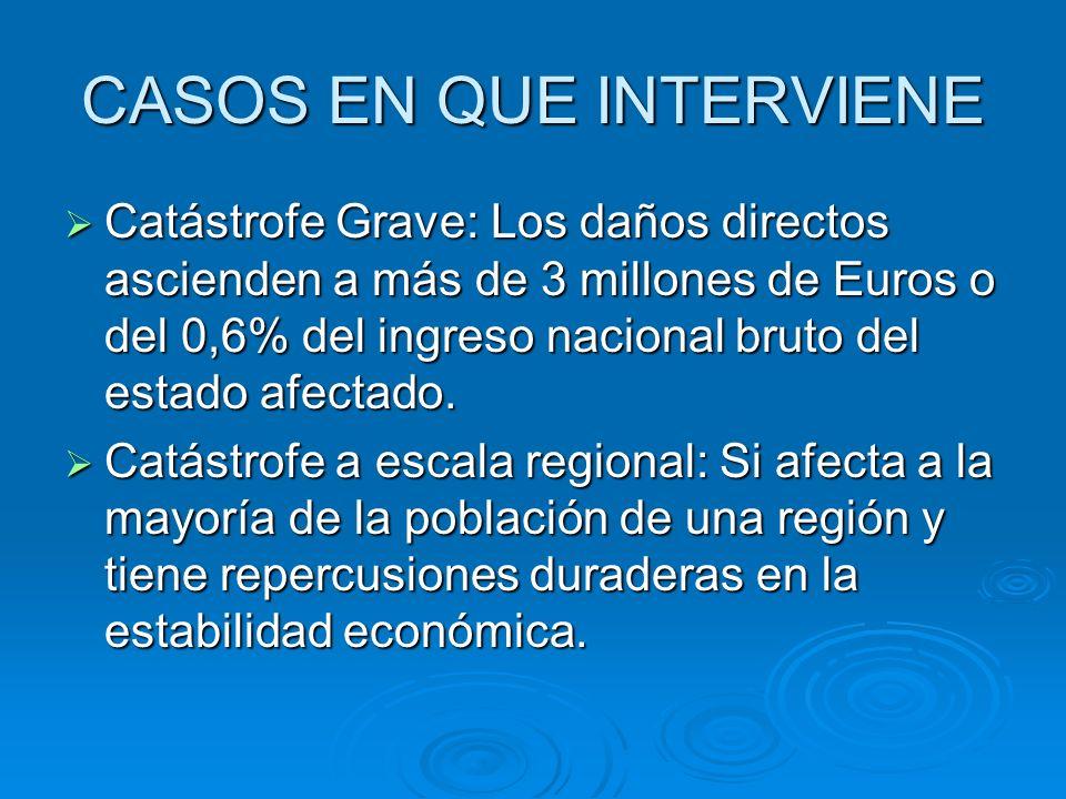 CASOS EN QUE INTERVIENE Catástrofe Grave: Los daños directos ascienden a más de 3 millones de Euros o del 0,6% del ingreso nacional bruto del estado a