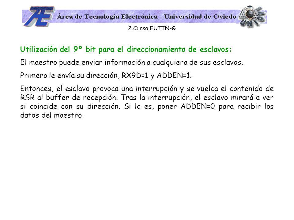 2 Curso EUTIN-G Utilización del 9º bit para el direccionamiento de esclavos: El maestro puede enviar información a cualquiera de sus esclavos. Primero