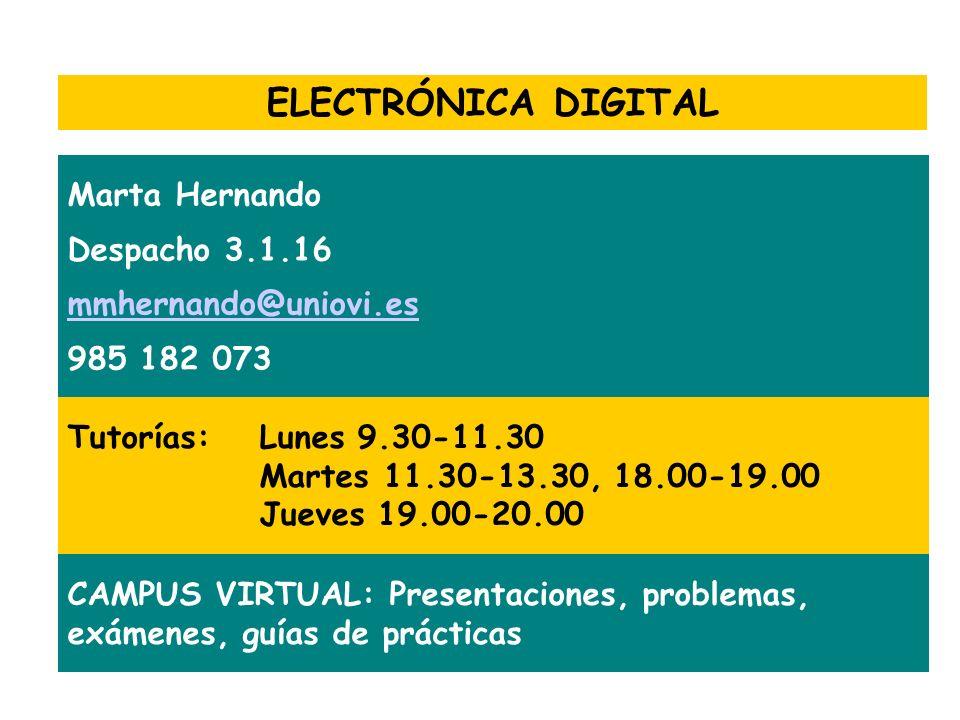 ELECTRÓNICA DIGITAL Marta Hernando Despacho 3.1.16 mmhernando@uniovi.es 985 182 073 Tutorías:Lunes 9.30-11.30 Martes 11.30-13.30, 18.00-19.00 Jueves 1
