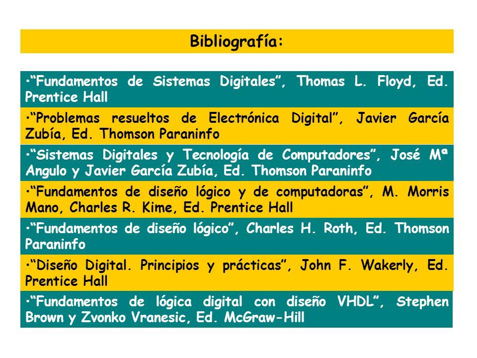 Bibliografía: Fundamentos de Sistemas Digitales, Thomas L. Floyd, Ed. Prentice Hall Problemas resueltos de Electrónica Digital, Javier García Zubía, E